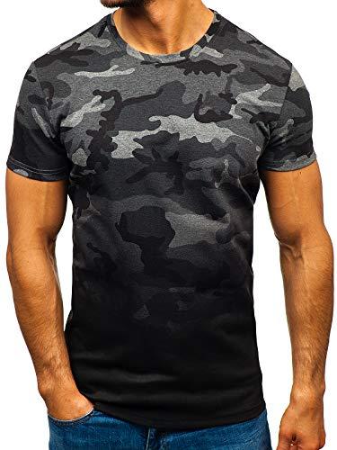 BOLF Herren T-Shirt Army Camo Modern Motiv Aufdruck Casual Style J.Style S808 Dunkelgrau L [3C3]