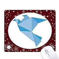 抽象的で青いハト折り紙パターン オフィス用雪ゴムマウスパッド