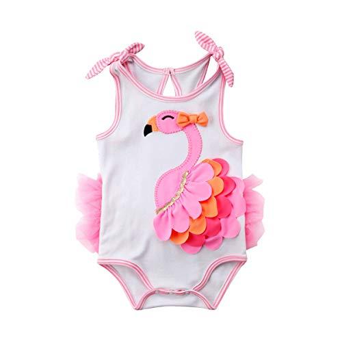Bebé Recién Nacida Ropa de Playa Verano Mameluco sin Manga para Niñas Pequeñas Mono de Cuerpo Infantil con Estampado de Flamenco con Falda de Tul Rosa (Rosa, 3-6 Meses)