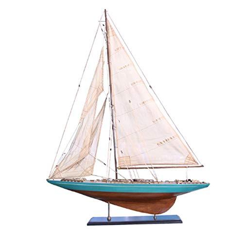 LYXin 90 cm houten model boot blauw interieur retro decoratie ambachten hout ambachten zee stijl gemonteerd bouwpakket