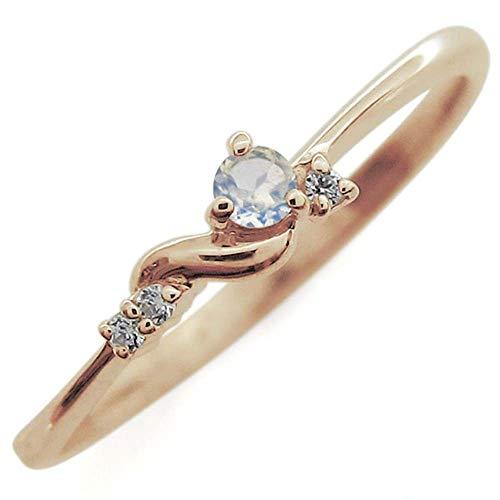 [プレジュール]ピンキーリング ムーンストーン リング シルバー ピンクコーティング 指輪リングサイズ10号