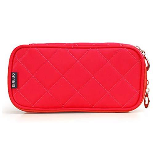 Mini sac cosmétique portable en nylon imperméable à l'eau multi-fonction demi-ouverte à deux couches grande capacité voyage Make Up Bag,4
