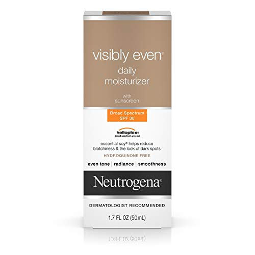 Neutrogena Visibly Even Daily Facial Moisturizer With Broad Spectrum SPF 30 Sunscreen, Essential Soy for Skin Discoloration, Dark Spots, and Even Skin Tone, Hypoallergenic, 1.7 fl. Oz
