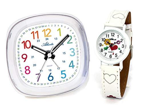 Kinderwecker ohne Ticken + Armbanduhr für Mädchen Weiß - 1736-0 KAU ws Herzchen