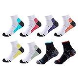 Meowoo 8 Paires Chaussettes de Compression pour Homme et Femme Chaussettes Sport Courte pour Sportive, Cyclisme, Fitness, Voyage (L/XL)