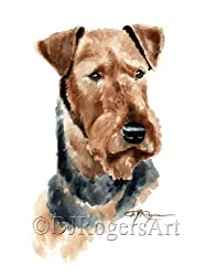 image of an Airedale Terrier watercolor print
