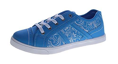 Damen Sneaker Blumenmuster sportliche Halb Schuhe Schnürer flach Slipper Türkis-Blau Größe 38