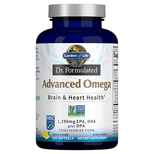 Garden of Life Dr. Formulated Advanced Omega Fish Oil - Lemon, 1,290mg EPA, DHA + DPA in Triglyceride Form, Single Source Omega 3 Supplement for Ultimate Brain & Heart Health, Non-GMO, 180 Softgels