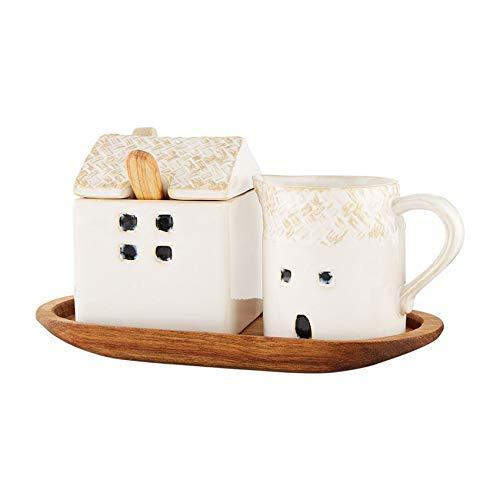 Mud Pie House Cream And Sugar Set, 3' x 2 3/4' 3 3/4' x 3' | Tray 4' x 8' | Spoon 4 1/2', White