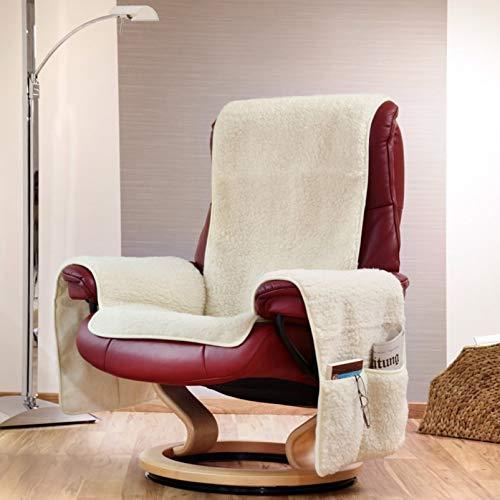 DbKW Schurwoll- Sesselschoner mit Armlehnen & Taschen. Sesselauflage, Sessel- Überwurf