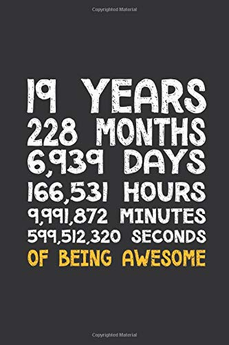Pitmaster's Log Book and BBQ Cooking Journal: 19th Birthday 19 Years Old Being Awesome Anniversary |...