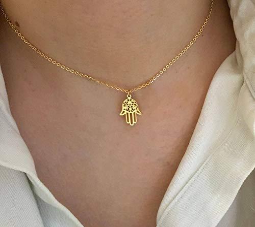 ABRC Soy Luna árabe Mano de Hamsa Colgante Collar de la Mujer de los Hombres Amuleto Oro del Acero Inoxidable de la Mano del Color joyería Fatima Gargantilla islámica