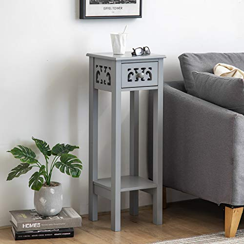woodluv Provence Fretwork French Inspired Hallway Side Table Bedside Unit in MDF- Grey