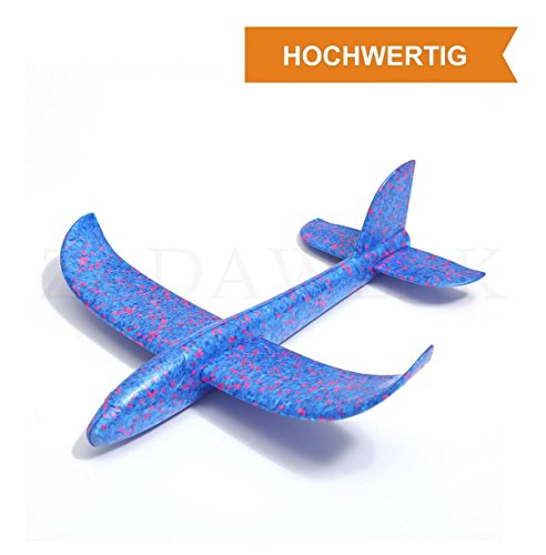 ZADAWERK® Styroporflugzeug - 35 cm - Blau - Outdoor-Spielzeug - Kinder-Geburtstag