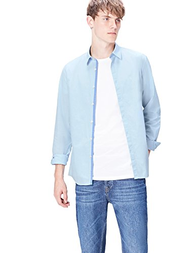 Amazon-Marke: find. Herren Smoking Hemd, Blau (light blue), M