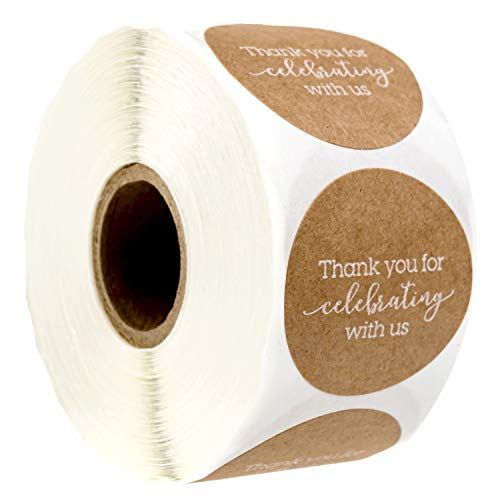"""1.5"""" Thank You for Celebrating with Us Stickers/Wedding Favor Stickers/Baby Shower Favor Sticker 500 Labels per roll"""