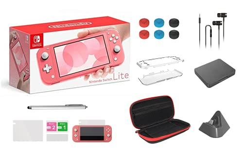 """Newest Nintendo Switch Lite Game Console, 5.5"""" LCD Touchscreen Display, Built-in Plus Control Pad, W/GM Carry Bag, Charging Base, Earphone, Protective Case, Built-in Speakers, 3.5mm Audio Jack (Coral)"""
