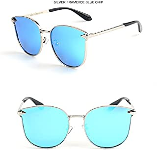 GR Child Sunglasses Fashion Polaroid Sunglasses Boys Girls Kids Baby Goggles UV400 Mirror Arrow Metal Frame Cat Eye Sunglasses Children (Color : Blue)