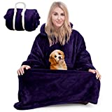 Blanket Sweatshirt Hoodie Blanket Wearable Blanket Blanket Hoodie for Women Men Hooded Blanket Cozy Blanket Women, Super Warm and Oversized Blanket with Giant Sleeves and Pocket(Purple)