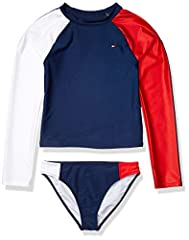 Features this girls two-piece rashuguard set features color-blocked throughout silhouette, screen printed logo and stripes on sleeves. Upf 50 for maximum protection from the sun. Perfect for the beach & pool whether it's playing at the beach, swimmin...