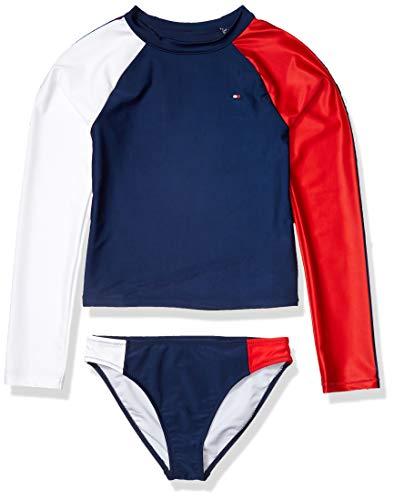 Tommy Hilfiger Kids Girls Two-Piece Swimsuit, Rashguard Flag Blue, L12/14