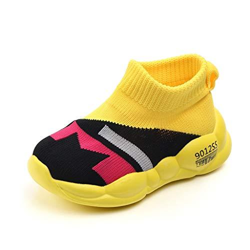 WEXCV Unisex Baby Jungen Mädchen Farbabstimmung Strumpfwaren Krabbelschuhe Neugeborenen Anti-Rutsch Licht Schuhe Lauflernschuhe 22.5-39