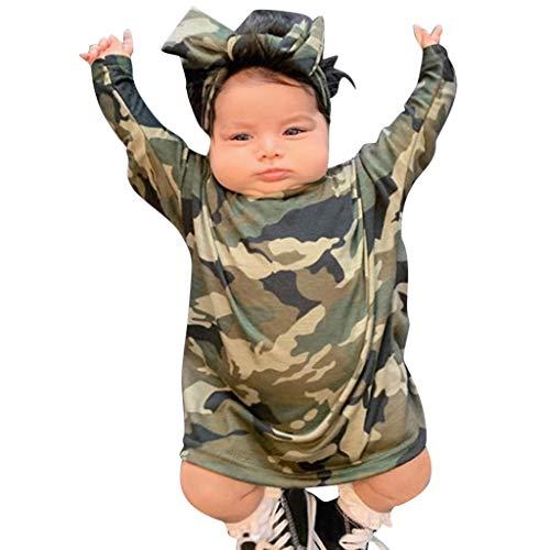 Moneycom❤ Vestido de princesa, conjunto de ropa para niñas, niñas, niñas, de camuflaje, estampado de camuflaje camuflaje 12-18 Meses