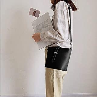 Fashion Single-Shoulder Bags Pure Color Bucket Bag Handbag Single Shoulder Bag Messenger Bag (Black) (Color : Black)