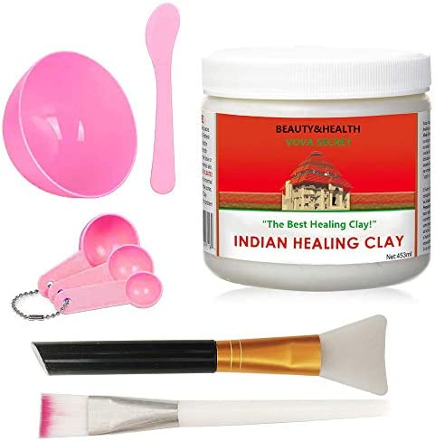 Indian Healing Clay Premium Mask Set by ROUSHUN All In One Kit Includes 1lb ROUSHUN Indian Healing product image