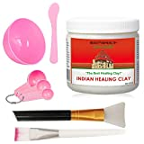 Indian Healing Clay Premium Mask Set by ROUSHUN – All-In-One Kit Includes 1lb ROUSHUN Indian Healing Clay, Bowl, Stir, Scoop, Brush,Silicone Face Mask Brush (6 In 1)