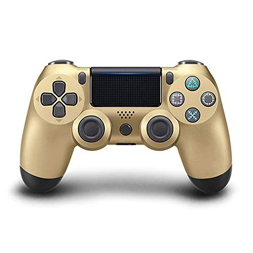 AMXQ Mando de Juegos Inalámbrico Botón de Copo de Nieve Bluetooth PS4 Dual Vibration Gamepad Playstation 4 52414879,Gold