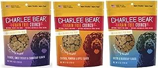 Charlee Bear Grain Free Bear Crunch Treats 3 Flavor Variety Bundle: (1) Bacon & Blueberry Flavor, (1) Chicken, Pumpkin & Apple Flavor, and (1) Turkey, Sweet Potato & Cranberry Flavor