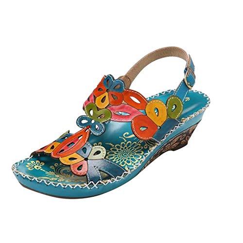 ZuzongYr Sandalias de verano para mujer, cómodas, transpirables, ortopédicas, antideslizantes, con diseño de flores, sandalias para la playa, color Multicolor, talla 36 EU