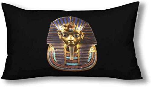 Cute Bi Antiguo Egipto Funeraria Máscara de Tutankamón Funda de Almohada Decorativa King Size 20X36 Pulgadas Rectángulo con Cremallera Funda de Almohada Protector Decoración para El Hogar