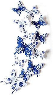 Set Of 12pcs Blue 3d Butterfly Wall Stickers