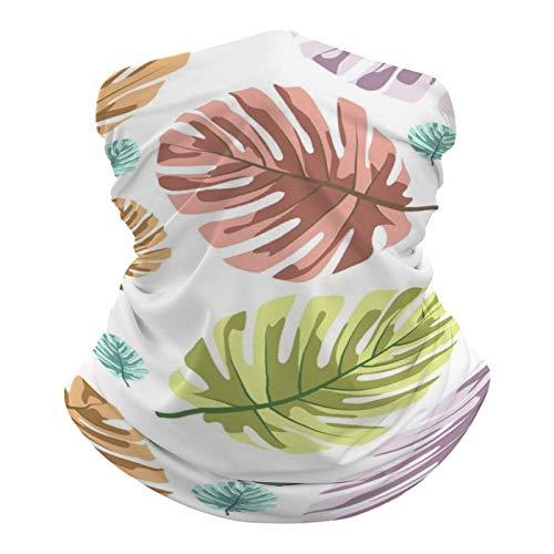 DKE&YMQ Pañuelo multifuncional unisex con patrón elástico y transpirable, para deportes, con resistencia a los rayos UV, diseño de hojas de organismo, color verde azulado