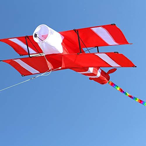 XeonZone Grand Cerf Volant Cerfs-volants Monofil Rouges et Blancs Cerfs-volants en Polyester Indéchirable de Qualité Supérieure Facile à Faire Voler pour Enfant Adulte Activités de Jeux de Plein Air