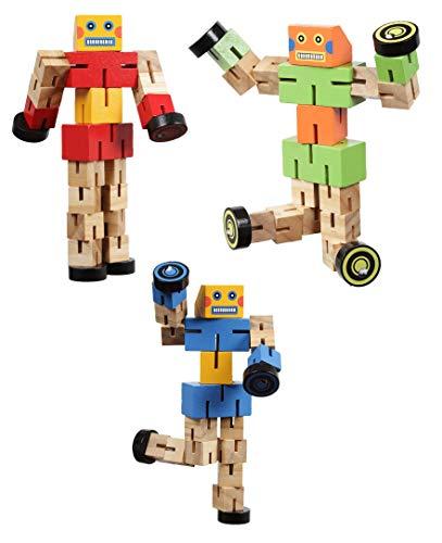 Gerileo Lote de 3 Robots Transformers de Madera con Bolsa de Transporte de Tela - Juguete de Madera – Puzzle Rompecabezas – Transformación de Figuras en Coches, Animales y Otras Figuras.