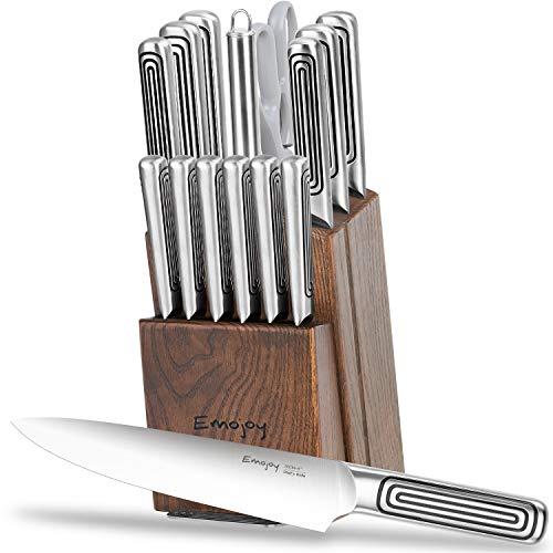 Emojoy Messerblock Messer Set, 15tlg Küchenmesser aus vollem Edelstahl, Messerset mit Holzblock, Kochmesser Set mit Wetzstahl und Schere, Einteiliger Messerkörper