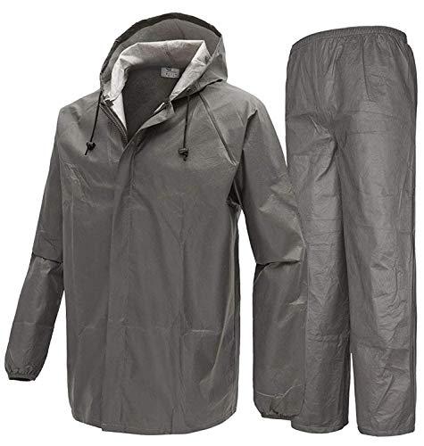 SWISSWELL Men's Rain Jacket & Pants Waterproof Foul Weather Rainwear for Cycling Hiking Travel ( Non-woven Grey Rain Suit , Small )