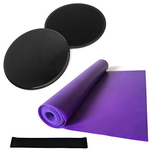 Lixada Set Yoga 4PCS Dischi Core Sliders Banda Elastica di Resistenza Esercizio Cinturino in Lattice per L'addestramento del Nucleo Addominale Palestra Pilates
