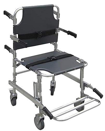GLJY EMS Treppenstuhl -Emergency 4 Wheels Transport Chair, Rettungswagen Feuerwehrmann Evakuierung Medizinische Faltbare Aluminium Lift Treppenstuhl + 3 Verstellbare Träger Mit Schnellverschlüssen