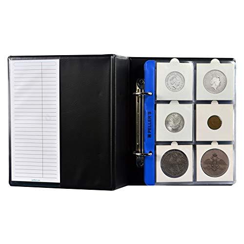 PELLER'S Album de Collection pour pièces en étuis numismatiques en Carton, 60 Pochettes 50mm x 50mm. Classeur S avec 10 Feuilles.