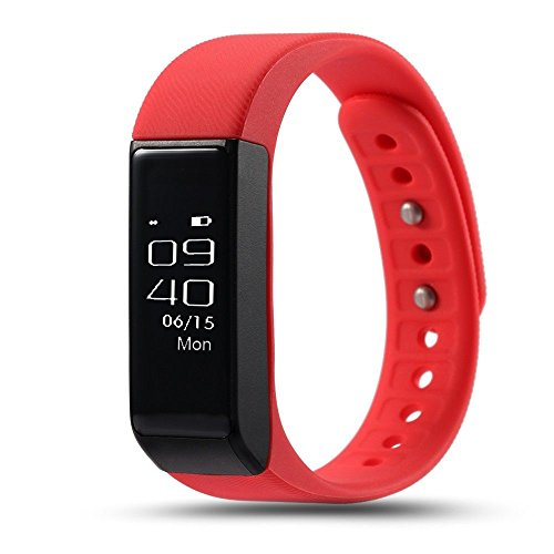 ROGUCI Fitness Tracker con OLED touch screen, Bluetooth 4.0schrittz?hler, Smart Bracciale, Sleep Monitor, Call/MSM Reminder F ¨ ¹ R Android/iOS smartphone, Rote mit Smart Push