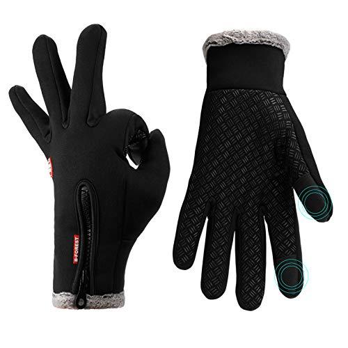 Lzfitpot Unisex Winterhandschuhe Touchscreen Warm Fahrradhandschuhe,Wasserdicht, Winddicht & rutschfest, Schwarz, Gr.- L