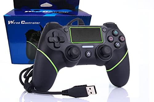 Intckwan PS4 Wired Game Controller für Playstation 4 / Pro / Slim / PC / Laptop, USB-Stecker Gamepad Joystick mit Dual Vibration und Anti-Rutsch-Griff, Ergonomie, 2M Kabel, Schwarz, grün