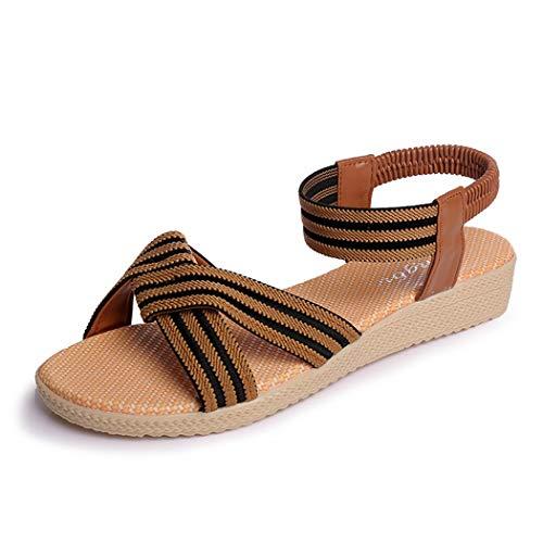 LXYYBFBD sandalen voor dames, voor en naar de open teen vlakke afbeelding - sandalen studenten en wilde onderste lijm schoenen vrouwen ademend, deodorant, bruin