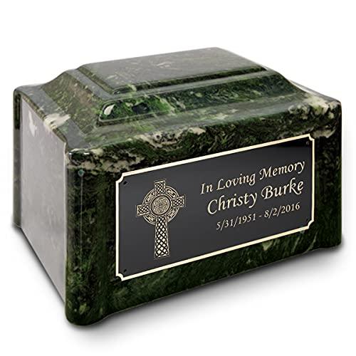 GetUrns Adult Devotion Cultured Marble Celtic Cross Custom Engraved Cremation Urn (Winter Pines)