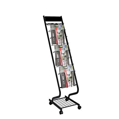 XMSIA Expositor portafolletos Piso Magazine Rack multifunción Documento Estante del folleto Estante extraíble Estante de Libro del Estante de exhibición con Ruedas 132x40x29cm Estante de exhibición
