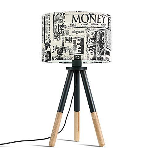 HJY Home Kreativität American Retro Kreative Kreative Künstler Habitat Nordic Threefoot Massivholz Britischer Lampenschirm Tischlampe Schlafzimmer Kopfteil